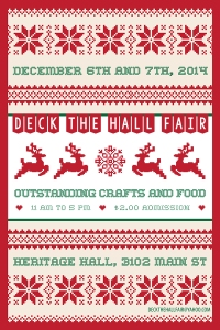 On Saturday December 6th and Sunday December 7th, 50 outstanding local artisans will come together in the historic Heritage Hall to display their wares. This eclectic show features handcrafted items for everyone in the family at every price point. You will find a great variety of jewellery, pottery, body care, woodcraft, photography, original artwork, folk art, unique up-cycled items, plus beautiful preserves, gourmet sauces, teas and much more. Heritage Hall is located at 3102 Main Street at 15th Avenue in Vancouver. $2.00 Admission. Kids free. 11AM – 5PM daily.  For more information email to deckthehallfair@yahoo.com